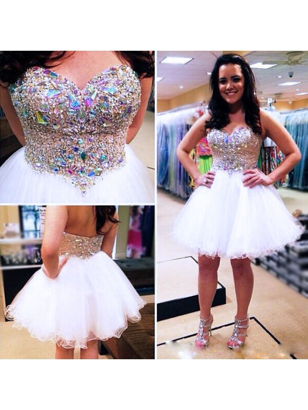 A-Line/Princess Sweetheart Tulle Short Dress