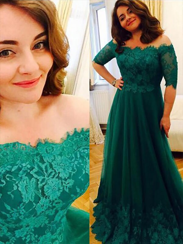 A-Line/Princess Short Sleeves Tulle Off-the-Shoulder Long Plus Size Dress