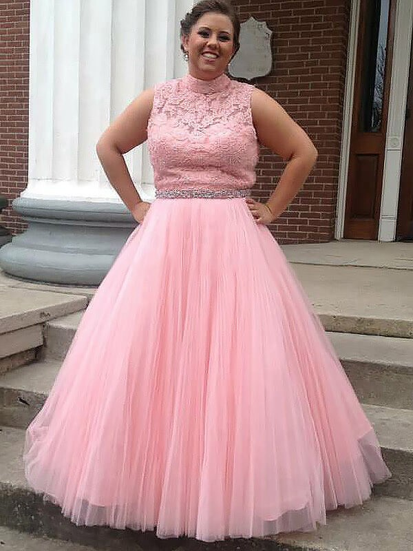 Ball Gown High Neck Tulle Long Plus Size Dress