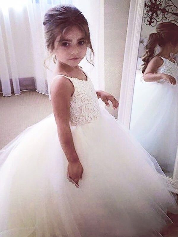 Ball Gown Jewel Lace Long Tulle Flower Girl Dress