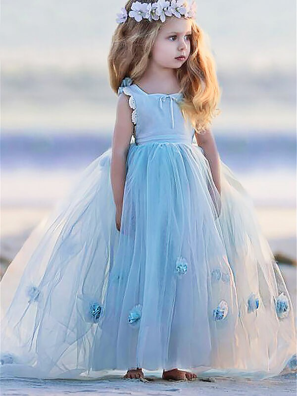 Ball Gown Bateau Long Tulle Flower Girl Dress