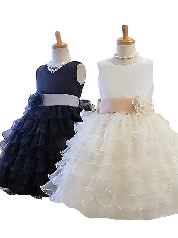 A-Line/Princess Jewel Tulle Short Flower Girl Dress