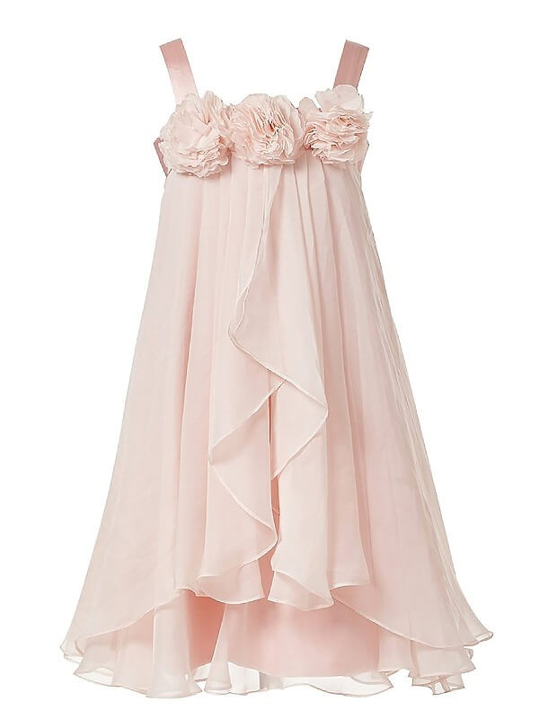 A-Line/Princess Straps Chiffon Ankle-length Flower Girl Dress