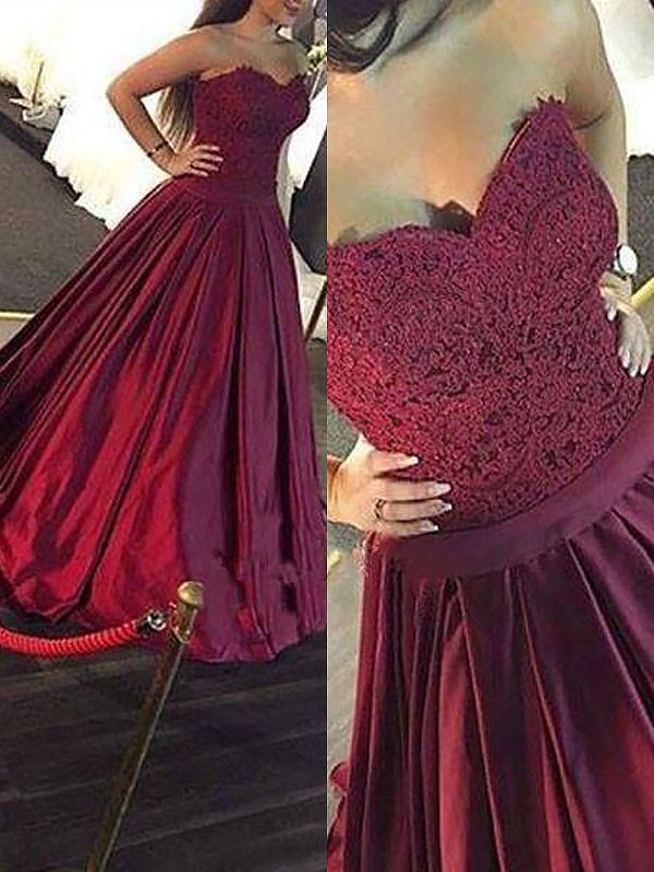 Ball Gown Sweetheart Lace Long Satin Dress