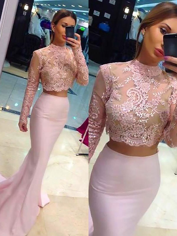 Sheath/Column Long Sleeves Lace Long High Neck Satin Two Piece Dress
