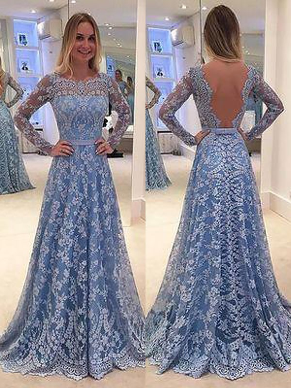 A-Line/Princess Long Sleeves Lace Long Bateau Dress
