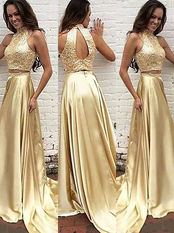 A-Line/Princess High Neck Satin Long Two Piece Dress