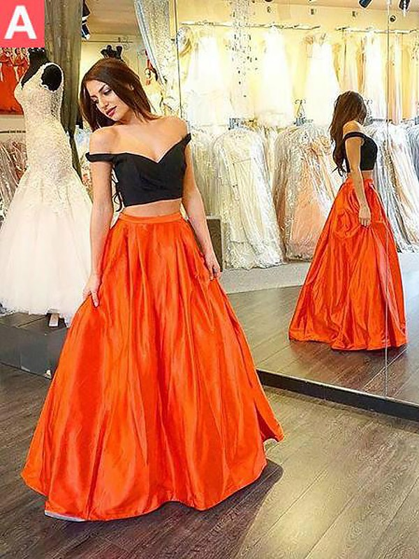 A-Line/Princess Off-the-Shoulder Taffeta Long Two Piece Dress