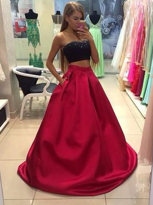 A-Line/Princess Strapless Tulle Long Two Piece Dress