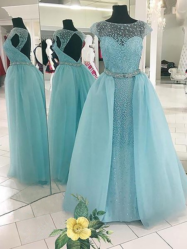 Ball Gown Bateau Long Tulle Dress