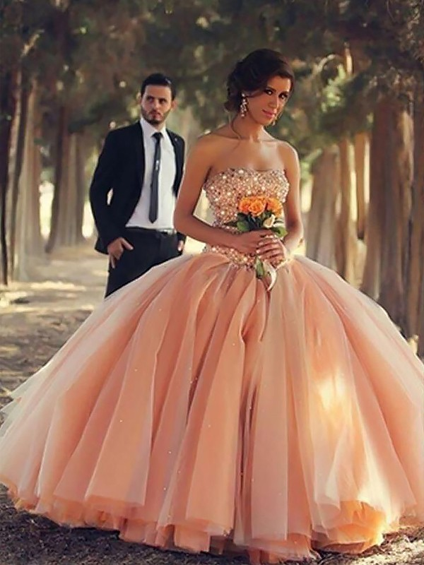 Ball Gown Strapless Long Tulle Dress