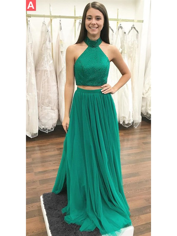 A-Line/Princess Halter Long Tulle Two Piece Dress