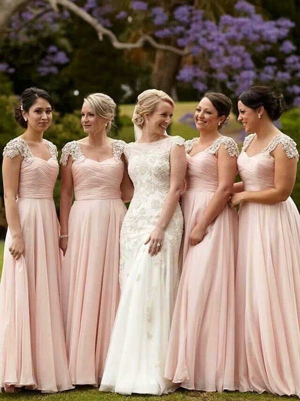 A-Line/Princess Short Sleeves Square Chiffon Long Bridesmaid Dress