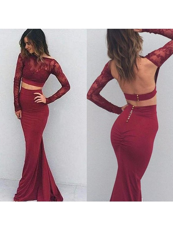 Mermaid Bateau Spandex Long Sleeves Long Dress