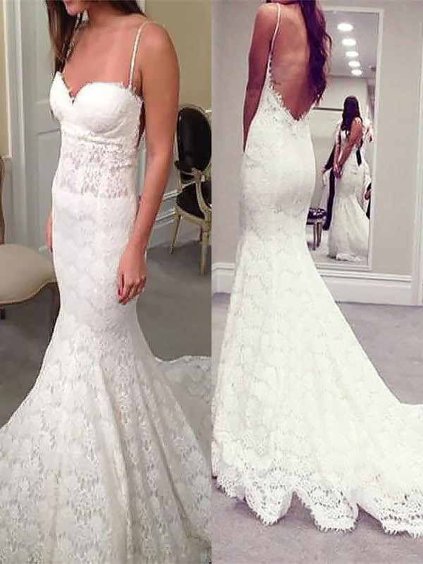 Mermaid Spaghetti Straps Long Lace Wedding Dress