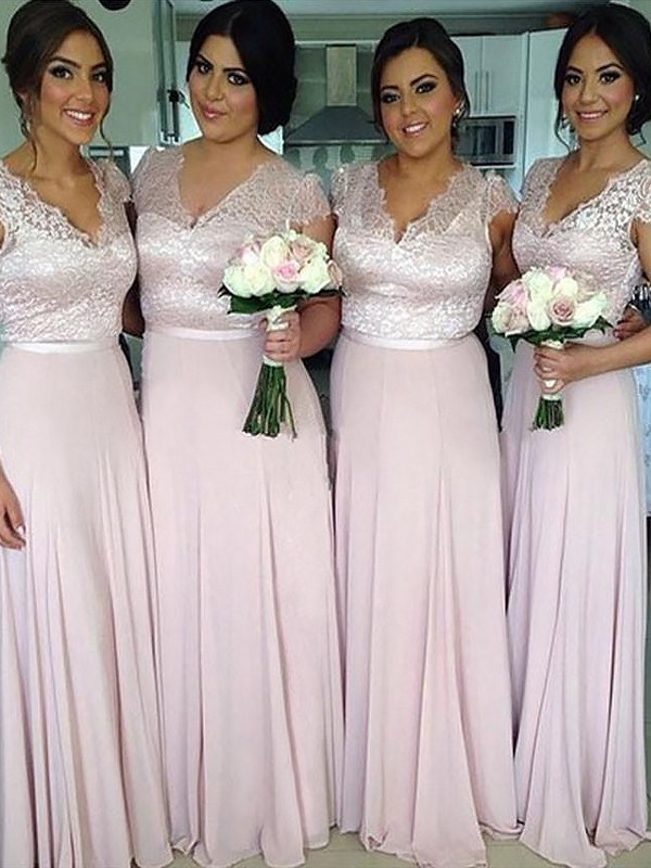 A-Line/Princess V-neck Short Sleeves Long Chiffon Bridesmaid Dress