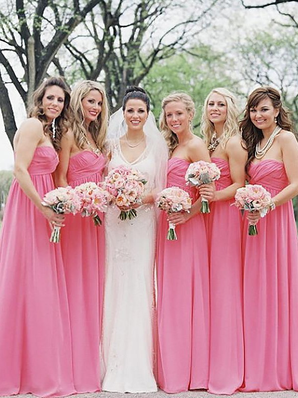 A-Line/Princess Sweetheart Chiffon Long Bridesmaid Dress