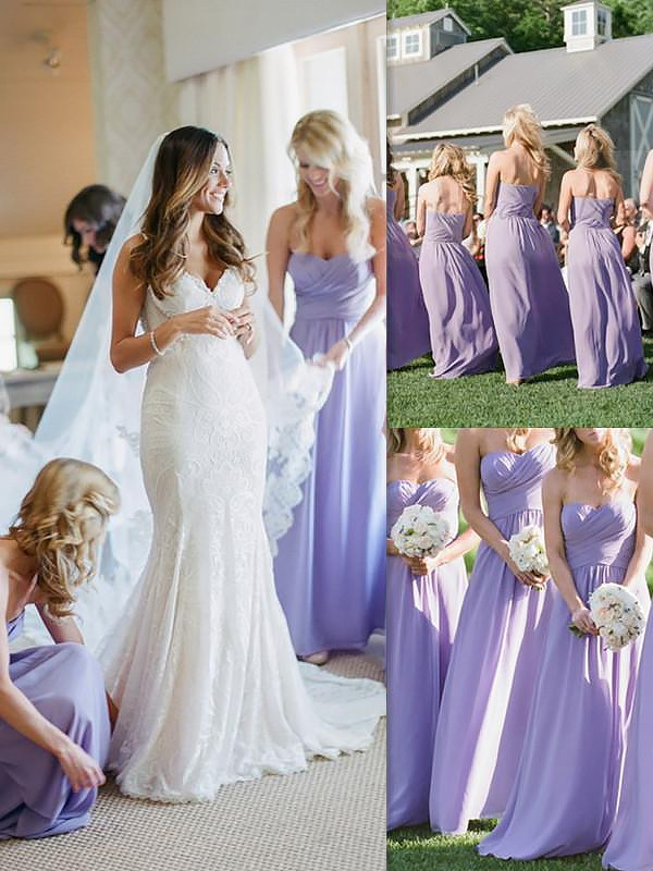 A-Line/Princess Chiffon Long Sweetheart Bridesmaid Dress