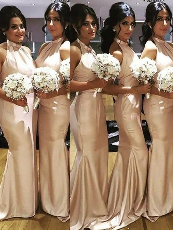 Mermaid Halter Long Satin Bridesmaid Dress