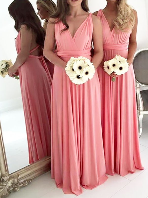 A-Line/Princess V-neck Long Spandex Bridesmaid Dress