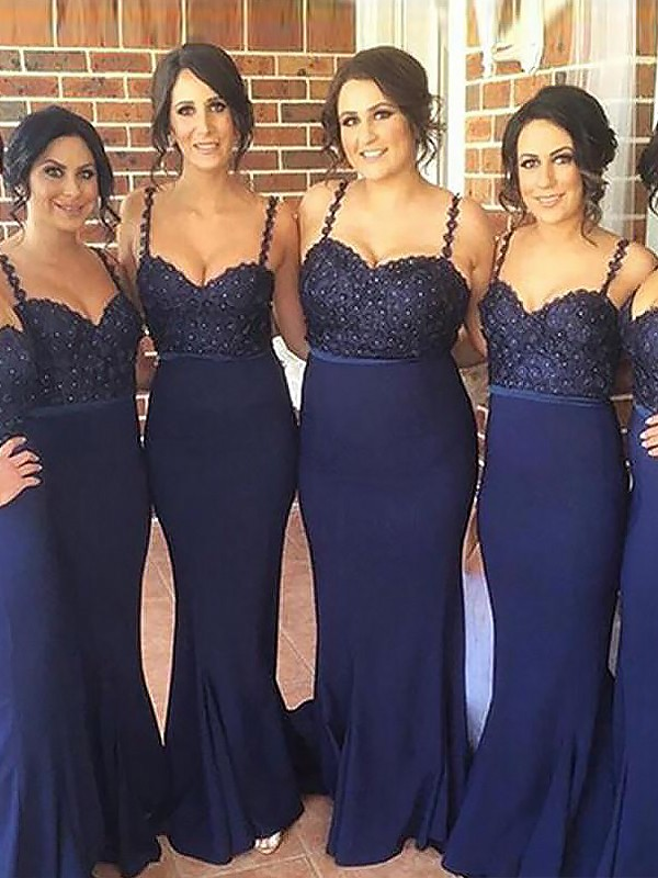 Mermaid Spaghetti Straps Long Satin Bridesmaid Dress