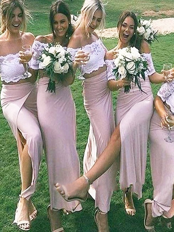 Sheath/Column Jersey Off-the-Shoulder Long Short Sleeves Bridesmaid Dress