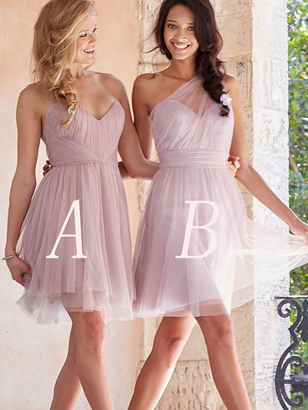 A-Line/Princess Tulle Short Bridesmaid Dress