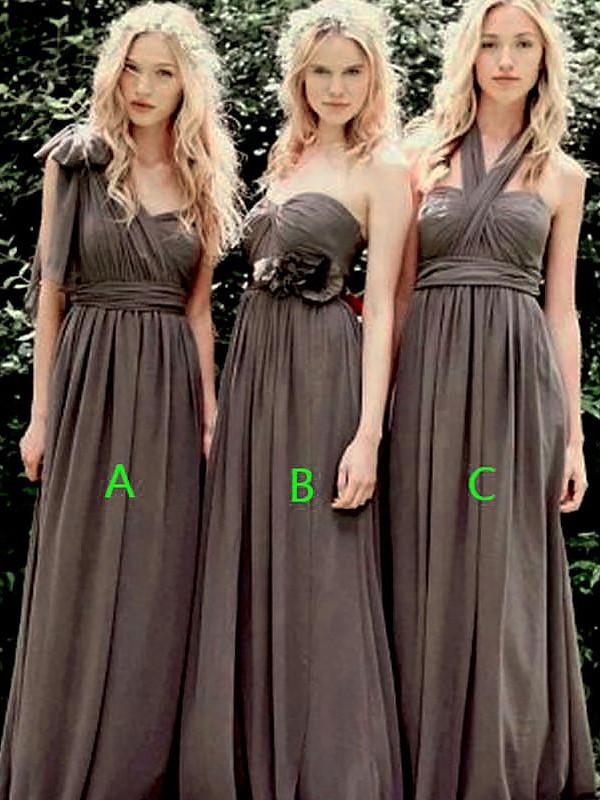 A-Line/Princess Chiffon Long Bridesmaid Dress