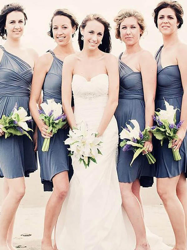 A-Line/Princess Chiffon One-Shoulder Short Bridesmaid Dress