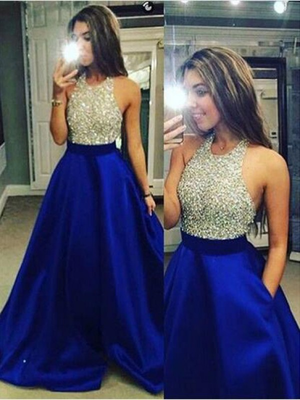 Ball Gown Jewel Satin Long Dress