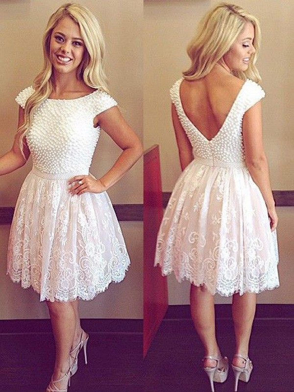 A-Line/Princess Scoop Short Sleeves Lace Short Dress