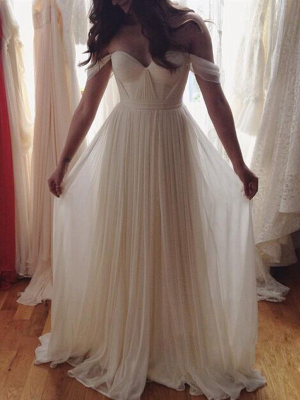 A-Line/Princess Off-the-Shoulder Long Chiffon Dress