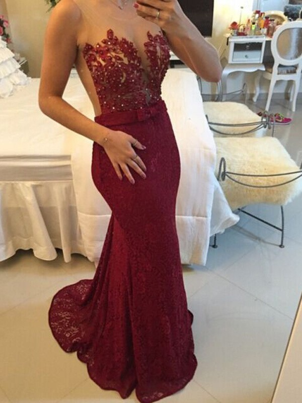Sheath/Column Scoop Long Lace Dress