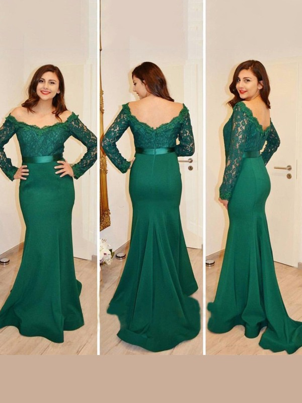 Mermaid Off-the-Shoulder Long Sleeves Long Satin Dress