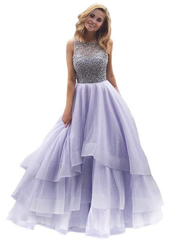 Ball Gown Scoop Long Organza Dress