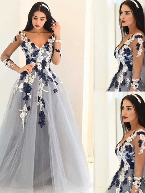 A-Line/Princess V-Neck Long Sleeves Tulle Long Dress