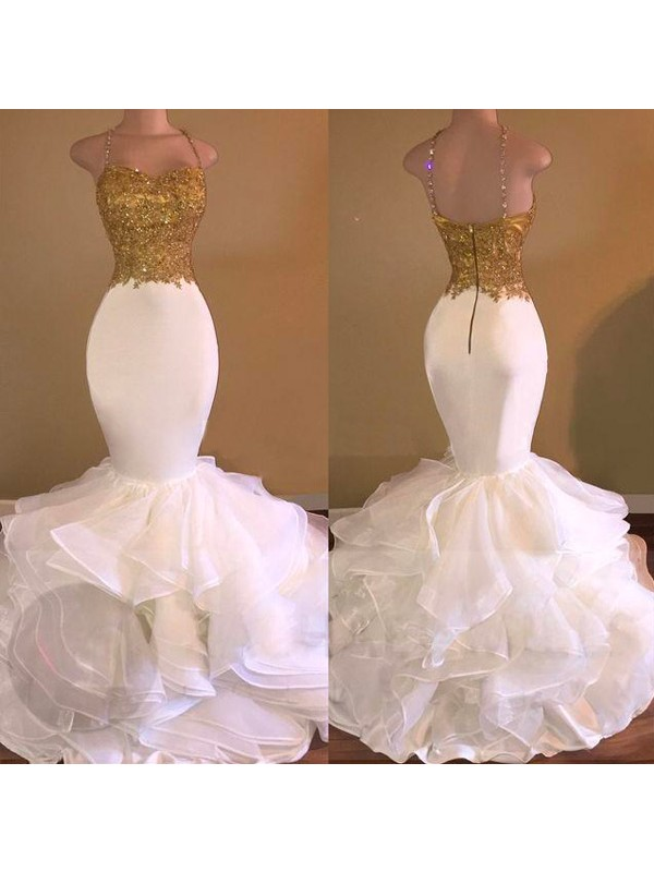 Mermaid Spaghetti Straps Organza Long Dress