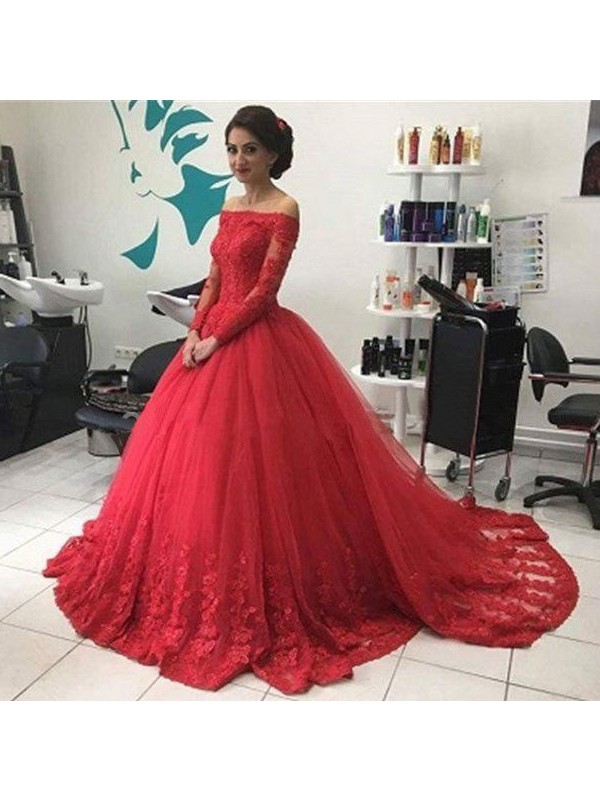Ball Gown Off-the-Shoulder Long Sleeves Tulle Long Dress