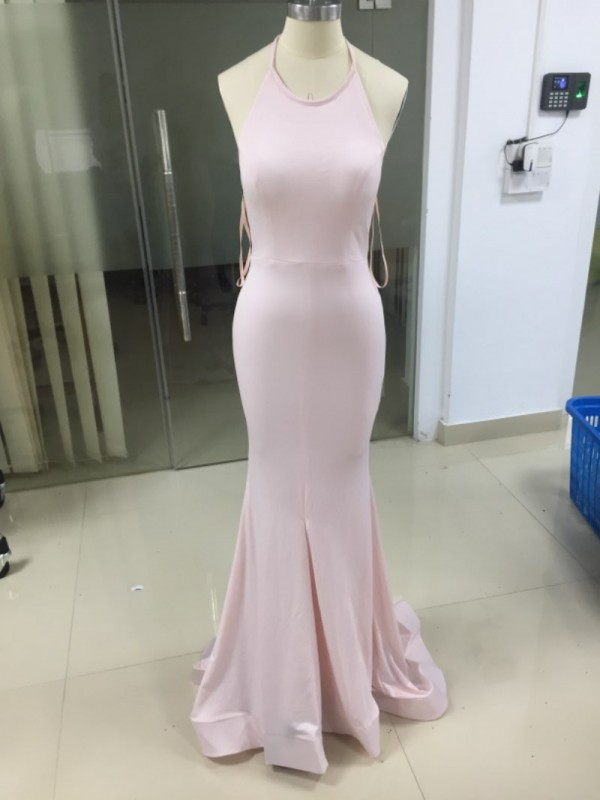 Mermaid Halter Satin Long Dress
