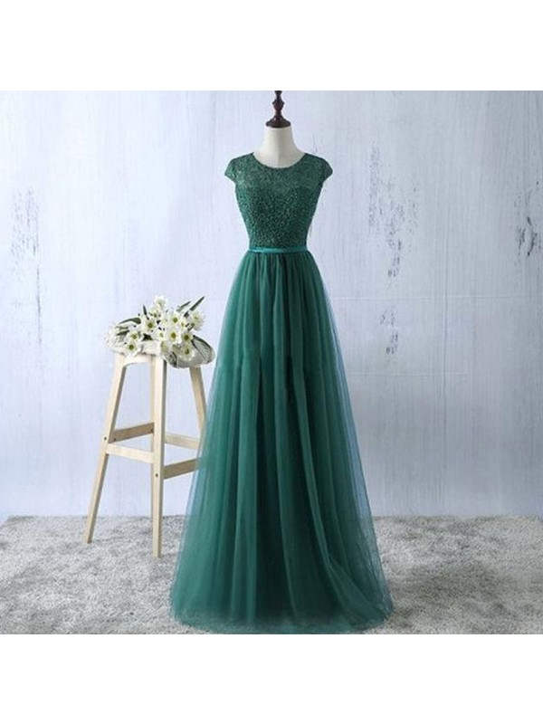 A-Line/Princess Scoop Tulle Long Dress