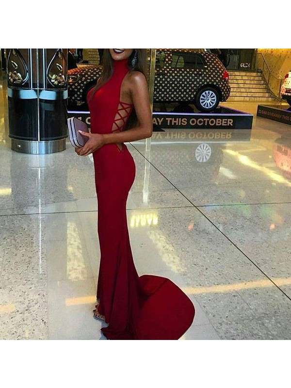 Mermaid High Neck Spandex Long Dress