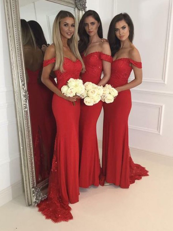 Mermaid Off-the-Shoulder Jersey Long Bridesmaid Dress