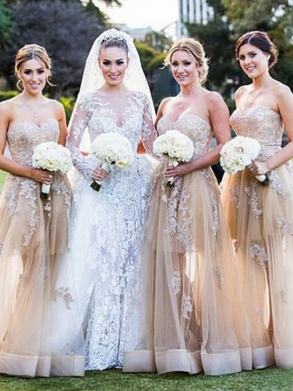 A-Line/Princess Sweetheart Tulle Bridesmaid Dress