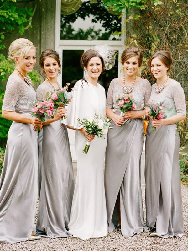 A-Line/Princess Scoop 1/2 Sleeves Long Satin Bridesmaid Dress