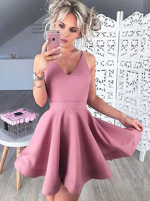 A-Line/Princess V-neck Satin Short Dress