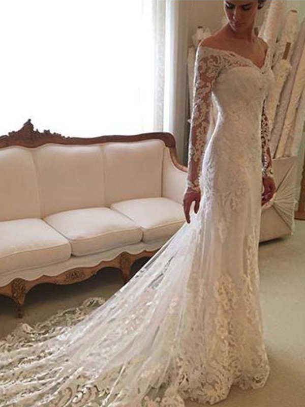 Sheath/Column Long Sleeves Lace Off-the-Shoulder Long Wedding Dress