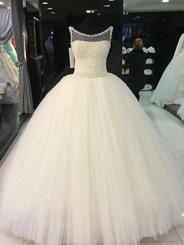 Ball Gown Scoop Tulle Long Wedding Dress