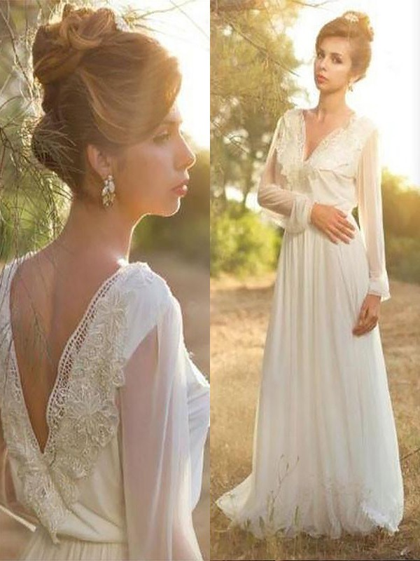A-Line/Princess V-neck Long Sleeves Chiffon Long Wedding Dress