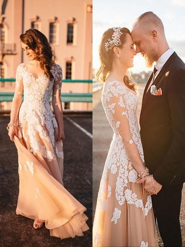 A-Line/Princess Tulle V-neck Long Sleeves Lace Long Wedding Dress