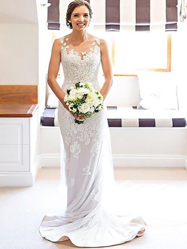 Sheath/Column Scoop Lace Long Wedding Dress